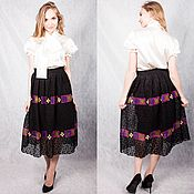 Одежда handmade. Livemaster - original item Black lace skirt with ornament. Handmade.