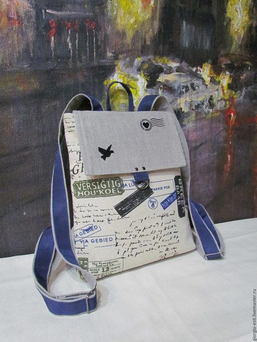 """Сумки и аксессуары ручной работы. Ярмарка Мастеров - ручная работа. Купить Текстильный рюкзак """"Тикет"""". Handmade. Комбинированный, лён 100%"""