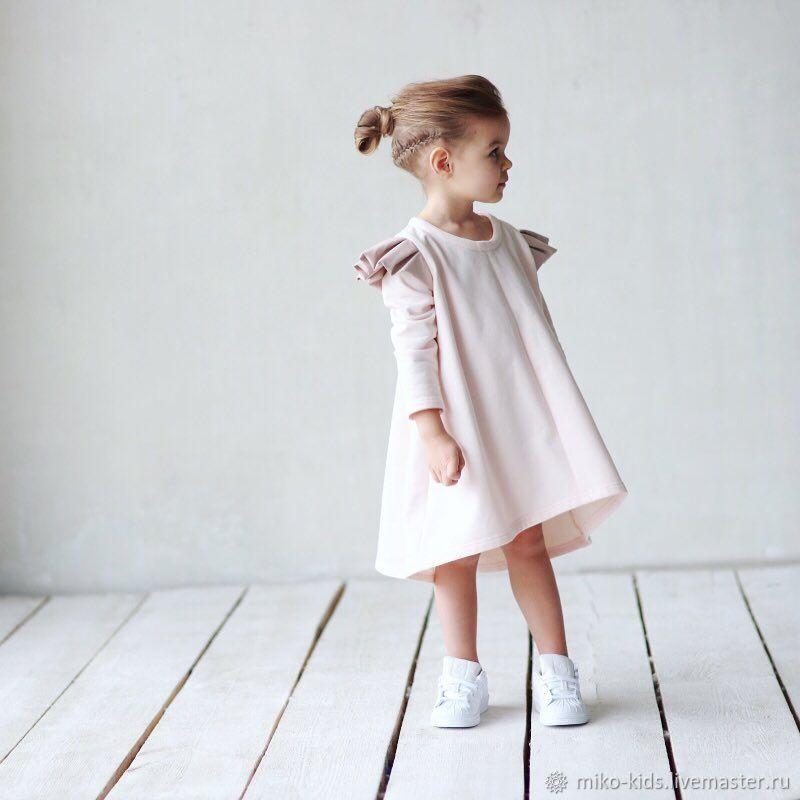 Одежда для девочек, ручной работы. Ярмарка Мастеров - ручная работа. Купить Хлопковое трикотажное платье с крылышками. Handmade. Платье для девочки