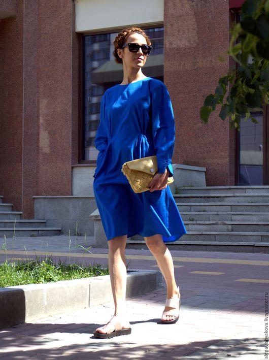 Платья ручной работы. Ярмарка Мастеров - ручная работа. Купить Синее платье. Handmade. Синий, платье дизайнерское, платье с карманами