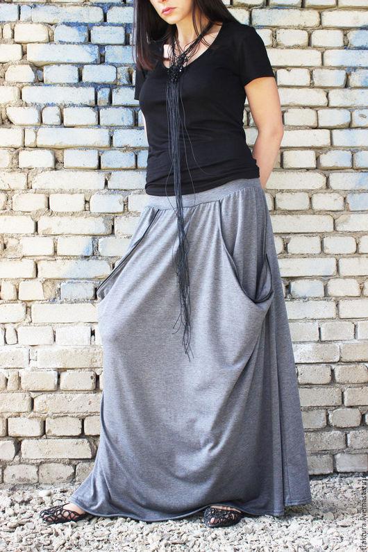 Юбки ручной работы. Ярмарка Мастеров - ручная работа. Купить Длинная юбка с карманами  S0002. Handmade. Серый, летняя юбка