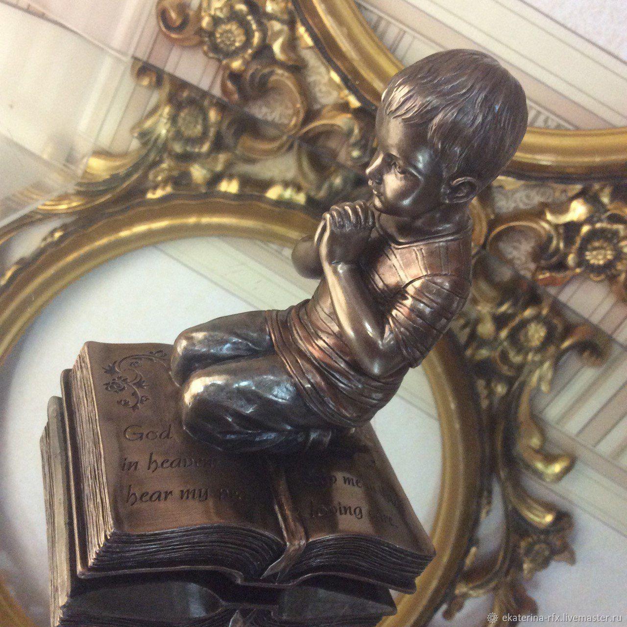 Мини-статуя Мальчик в мольбе, Пасхальный декор, православный подарок, Статуэтки, Москва,  Фото №1
