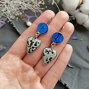 handmade. Livemaster - original item Double earrings with azurite and dolmatian jasper. Handmade.