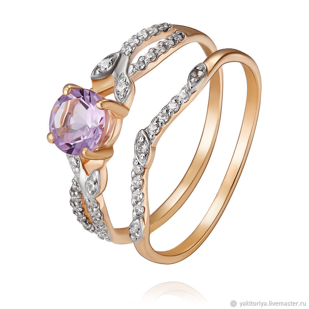585 gold ring with amethyst and cubic Zirconia, Rings, Moscow,  Фото №1