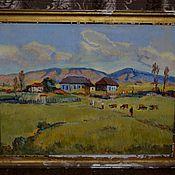 """Картина """"Горное село"""" 1979 г. П.С. Датебашвили холст масло"""