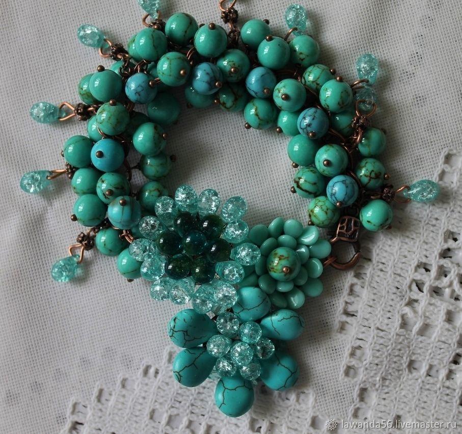 Copper bracelet with natural turquoise Blue dreams, Bead bracelet, Krasnoyarsk,  Фото №1