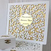 Свадебный салон handmade. Livemaster - original item Wooden wedding wish book (guest book made of wood)). Handmade.