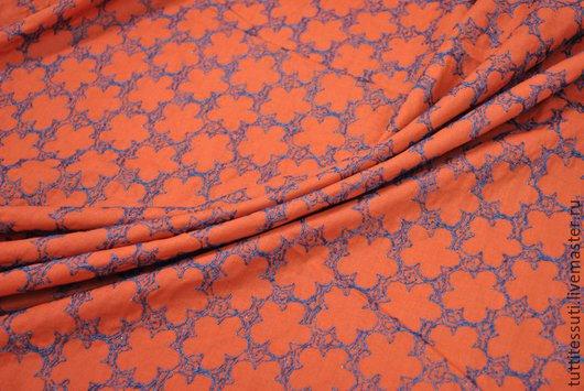 Шитье ручной работы. Ярмарка Мастеров - ручная работа. Купить Хлопок с вышивкой 02-003-1821. Handmade. Оранжевый, шитье