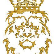 Дизайн и реклама ручной работы. Ярмарка Мастеров - ручная работа лев в короне  дизайн машинной вышивки. Handmade.