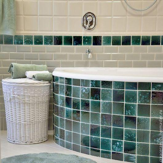 Декор поверхностей ручной работы. Ярмарка Мастеров - ручная работа. Купить Керамическая плитка ручной росписи для ванной комнаты. Handmade.