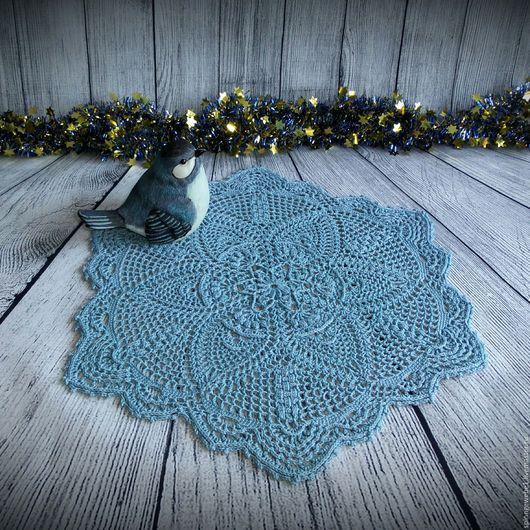 """Текстиль, ковры ручной работы. Ярмарка Мастеров - ручная работа. Купить Салфетка """"Mishel"""". Handmade. Синий, салфетка крючком, крючок"""