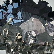 Материалы для творчества ручной работы. Ярмарка Мастеров - ручная работа набор натуральной замши серого и синего цвета с мехом  для творчества. Handmade.