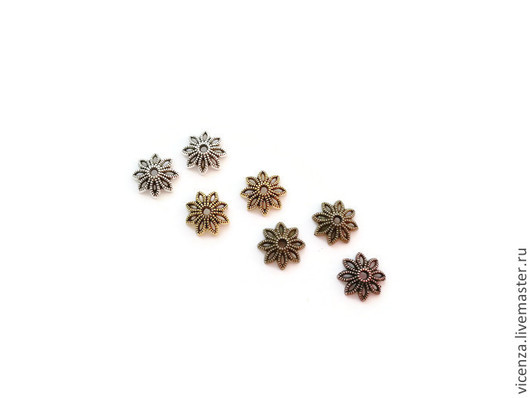 Шапочки для бусин `цветок` 11*3 мм  Цвет: медь, бронза, золото, серебро
