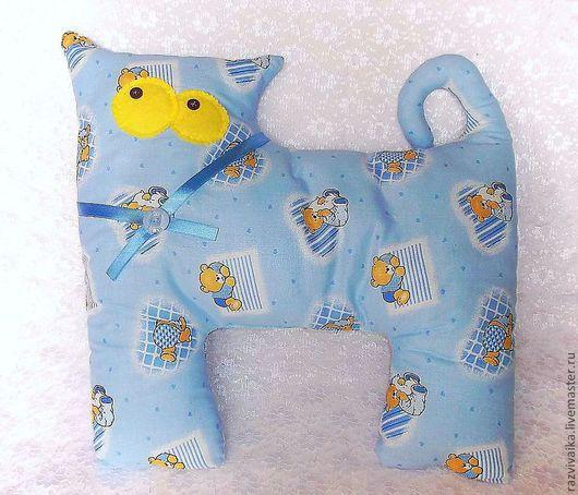 """Детская ручной работы. Ярмарка Мастеров - ручная работа. Купить подушка игрушка """"Котик"""" (голубой, детская, коты, кот, котики). Handmade."""