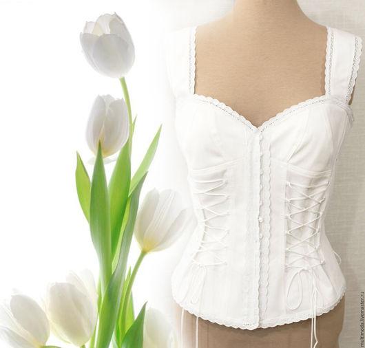 """Блузки ручной работы. Ярмарка Мастеров - ручная работа. Купить ..Белый джинс бохо. блузка.""""Белый тюльпан"""". Handmade. Белый"""