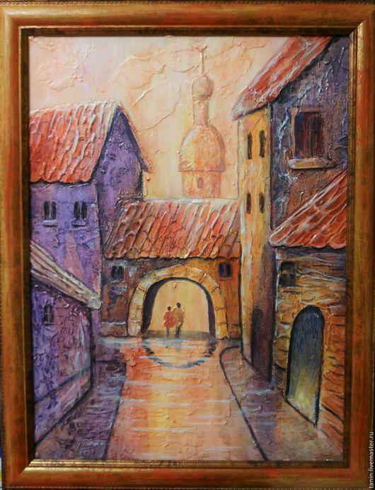 Город ручной работы. Ярмарка Мастеров - ручная работа. Купить Старый город. Handmade. Бежевый, город, акриловая роспись, оргалит