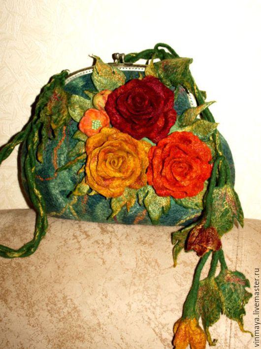 Женские сумки ручной работы. Ярмарка Мастеров - ручная работа. Купить Валяная сумочка. Handmade. Комбинированный, шерсть