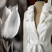 Одежда ручной работы. Ярмарка Мастеров - ручная работа Белый плащ с бантом белый коттон. Handmade.