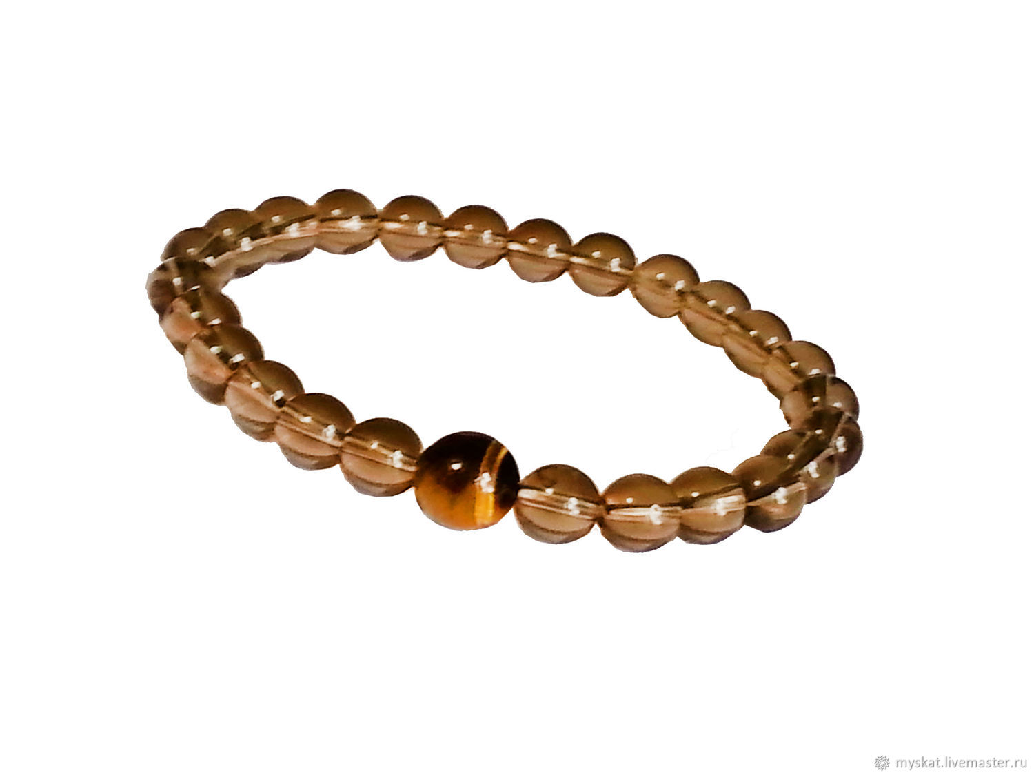 Men's bracelet Topaz and tiger eye, Bead bracelet, Moscow,  Фото №1