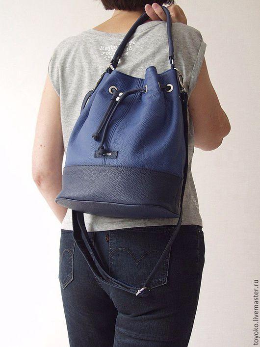 """Женские сумки ручной работы. Ярмарка Мастеров - ручная работа. Купить """"Узелок"""" - сумка-торба, синий цвет, натуральная кожа.. Handmade."""