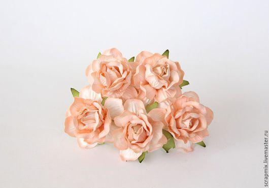 Открытки и скрапбукинг ручной работы. Ярмарка Мастеров - ручная работа. Купить Цветы розы 40 мм цвет персиковый. Handmade.