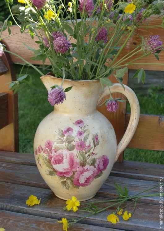 """Графины, кувшины ручной работы. Ярмарка Мастеров - ручная работа. Купить Кувшин керамический """"Розовый рассвет"""". Handmade. Кувшины из глины"""