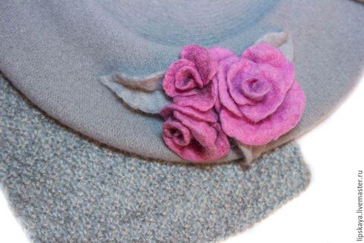 Береты ручной работы. Ярмарка Мастеров - ручная работа. Купить Берет из шерсти с розами. Handmade. Серый, розы ручной работы