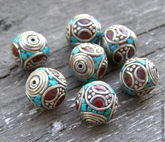 Для украшений ручной работы. Ярмарка Мастеров - ручная работа. Купить Этнические бусины с бирюзой и кораллом, Непал БН15. Handmade.