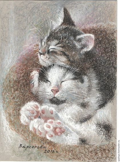 """Животные ручной работы. Ярмарка Мастеров - ручная работа. Купить Картина """"Уют"""",картина ккошка,сонные,милые,пастель. Handmade."""