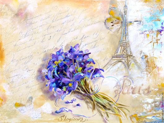 """Картины цветов ручной работы. Ярмарка Мастеров - ручная работа. Купить Из Парижа с любовью...""""-картина маслом с фиалками. Handmade."""