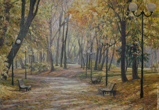 Пейзаж ручной работы. Ярмарка Мастеров - ручная работа. Купить Осенний парк. Handmade. Желтый, золотая осень, парк, тепло