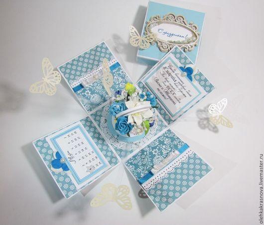 """Конверты для денег ручной работы. Ярмарка Мастеров - ручная работа. Купить Magic Box """"Цветочное настроение"""". Handmade. Голубой"""