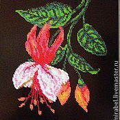 Картины и панно handmade. Livemaster - original item Decoration for interior. Embroidered panel Fuchsia Beading. Handmade.
