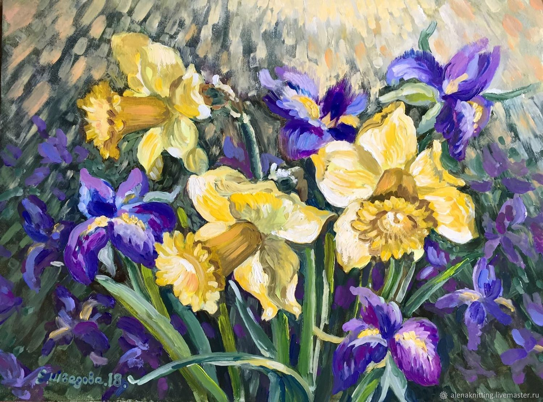 Elena Shvedova oil Painting `Joy of spring` ( art oil on cardboard) 30h40, 2018 unframed.