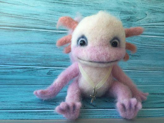 Игрушки животные, ручной работы. Ярмарка Мастеров - ручная работа. Купить Игрушка из натуральной шерсти , малыш Аксолотль , водяной дракон. Handmade.