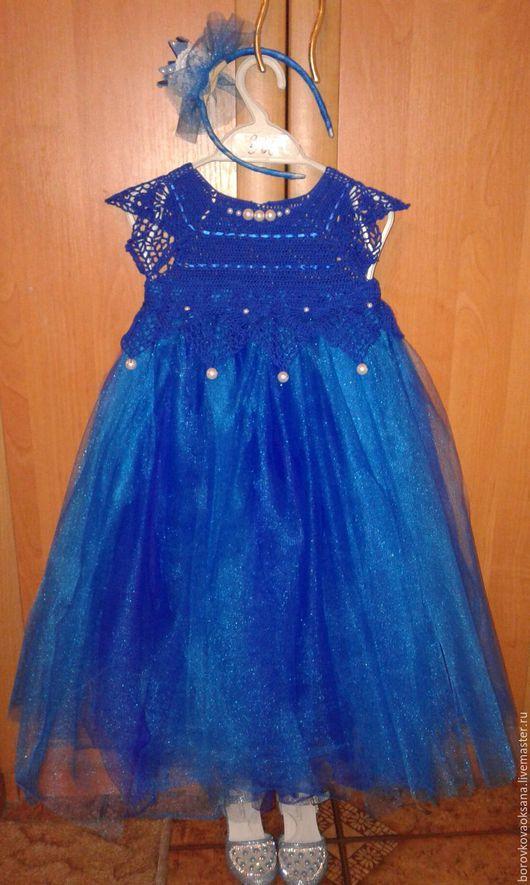 Одежда для девочек, ручной работы. Ярмарка Мастеров - ручная работа. Купить платье для девочки. Handmade. Тёмно-синий, Платье нарядное