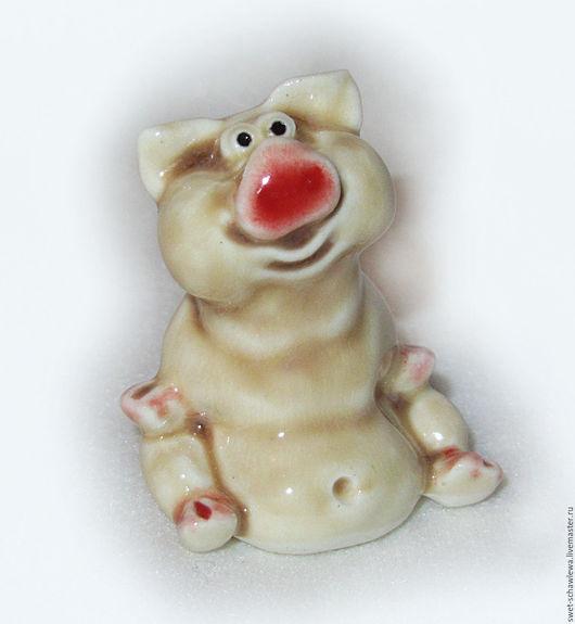 Миниатюрные модели ручной работы. Ярмарка Мастеров - ручная работа. Купить Свинка Нюшка. Handmade. Бежевый, глазурь