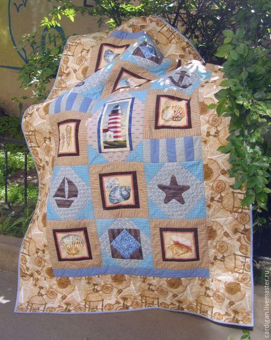 """Текстиль, ковры ручной работы. Ярмарка Мастеров - ручная работа. Купить """"Бриз"""", лоскутное одеяло. Handmade. Голубой, маяк, бязь"""