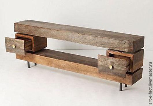 Лофт консоль, в духе `дзен` из состаренной сосны или ясеня (дороже). Два ящика. Экологичная мебель выполненная на заказ - длинный консольный стол для ТВ. Большой  консольный стол.