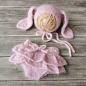 Комплект белья в кроватку ручной работы. Ярмарка Мастеров - ручная работа Комплект зайка для фотосессии новорожденных малышей. Handmade.