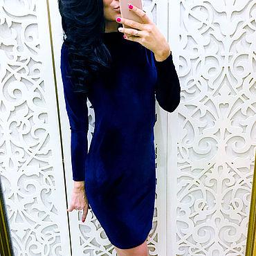 Одежда ручной работы. Ярмарка Мастеров - ручная работа Платье синий бархат рукав длинный 107. Handmade.