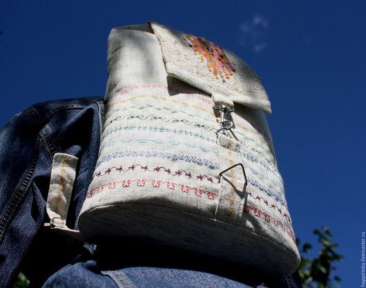 Рюкзаки ручной работы. Ярмарка Мастеров - ручная работа. Купить Рюкзак льняной СОЛНЕЧНЫЙ. Handmade. Льняная сумка, рюкзак для девочки