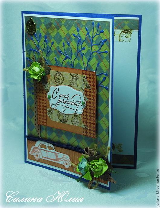"""Открытки для мужчин, ручной работы. Ярмарка Мастеров - ручная работа. Купить Мужская открытка """"С днем рождения!"""". Handmade. Разноцветный"""
