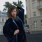 Одежда handmade. Livemaster - original item Blue velvet coat. Handmade.