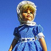 """Одежда для кукол ручной работы. Ярмарка Мастеров - ручная работа """" Синее настроение"""" Комплект платье,капор,панталончики. Handmade."""