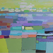 """Картины и панно ручной работы. Ярмарка Мастеров - ручная работа """"Welcome Spring"""" 85х90 зеленая картина маслом мастихином пейзаж. Handmade."""
