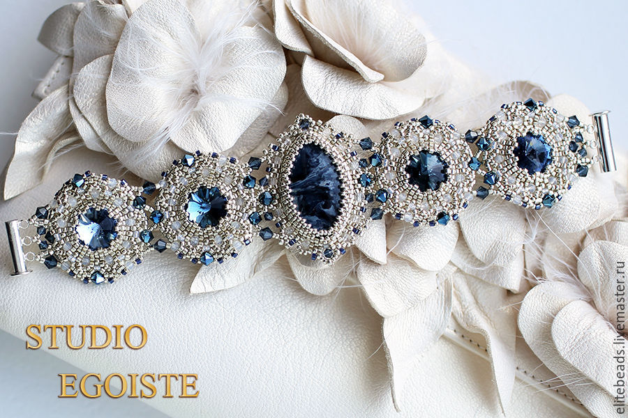 №240 Blue Bridal II Браслет и серьги с петерситом и Swarovski