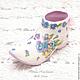 """Персональные подарки ручной работы. Ярмарка Мастеров - ручная работа. Купить Интерьерное украшение мини ботинок """"Анютки"""". Handmade. Сиреневый"""