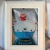 """Подарки к праздникам ручной работы. Ярмарка Мастеров - ручная работа Картинка на стекле """"Шарфики"""". Handmade."""