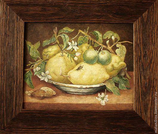 Натюрморт ручной работы. Ярмарка Мастеров - ручная работа. Купить Натюрморт с лимонами и лаймами (копия). Handmade. Оливковый, натюрморт с фруктами